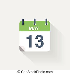 13 may calendar icon on grey background