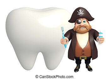 Pirate with Teeth & toothbrush,paste