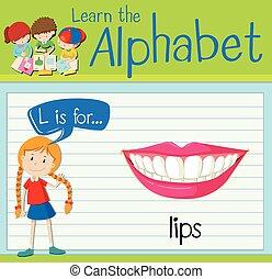 Flashcard letter L is for lips illustration