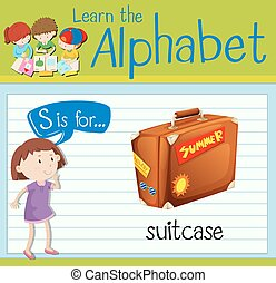 Flashcard letter S is for suitcase
