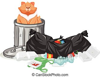 Cat sitting in trashcan illustration