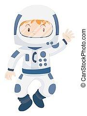 Kid in spacesuit costume illustration