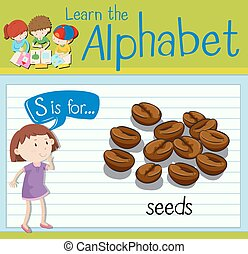 Flashcard letter S is for seeds illustration