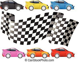 Racing cars and racing flag illustration