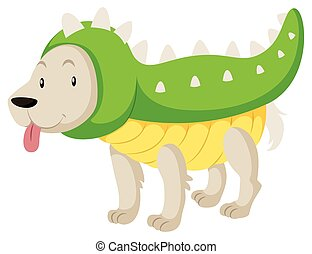 Little dog wearing dinosaur costume