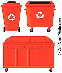 Three red rubbish bins illustration
