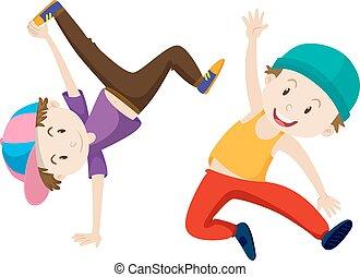 Two boys doing breakdance illustration
