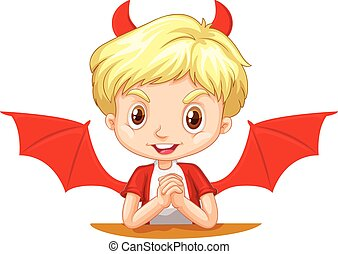 Boy with devil horns and wings illustration