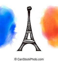 Pray for Paris. France. Eiffel tower on background colored...