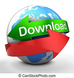 3d globe on white backdrop download text - 3d illustration...