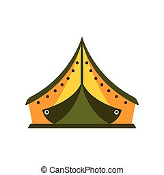 Yellow And Green Tarpaulin Tent In Camp, Camping And Hiking...