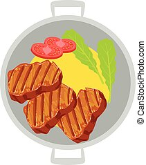 Grilled Beef Steaks With Side Of Mashed Potatoes And Fresh Tomato Vector Illustration Of Food Cooked On Grill Cafe Menu Dish