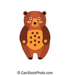 Toy Brown Bear Standing, Camping And Hiking Outdoor Tourism...