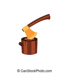Lumberjack Axe Stuck In Block Of Wood, Camping And Hiking Outdoor Tourism Related Item Isolated Vector Illustration