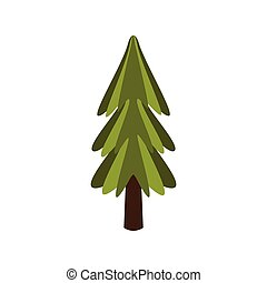 Standalone Fir Tree, Camping And Hiking Outdoor Tourism Related Item Isolated Vector Illustration