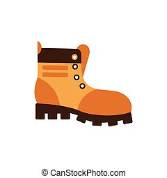 Enduring Leather Boot, Camping And Hiking Outdoor Tourism Related Item Isolated Vector Illustration