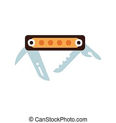 Pocket Knife With Set Of Different Tools And Blades, Camping And Hiking Outdoor Tourism Related Item Isolated Vector Illustration