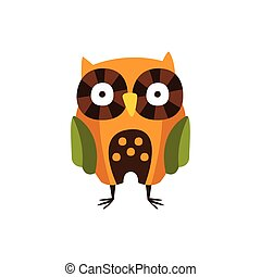 Stylized Owl Standing, Camping And Hiking Outdoor Tourism Related Item Isolated Vector Illustration