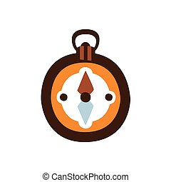 Pocket Magnetic Compass, Camping And Hiking Outdoor Tourism Related Item Isolated Vector Illustration