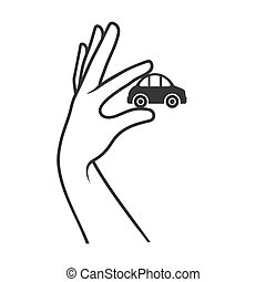 Hand with Car on White Background. Sale or Buy Icon. Vector...