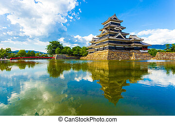 Matsumoto Castle Keep Sky Reflection Moat Water H - Clouds...