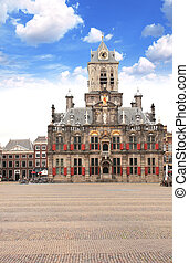 Council building (Stadhuis), Central square, Delft,...