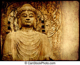 Grunge background with old paper texture and Buddha's...
