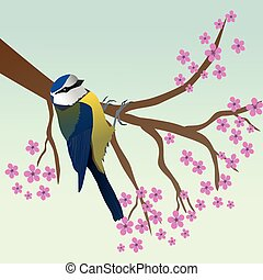 Blue tit hanging on a branch - An illustration of a blue tit...