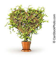 Concept of health. The plant in form of heart. 3d illustration