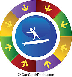 Surfer Icon - Surfer icon button symbol isolated on a...