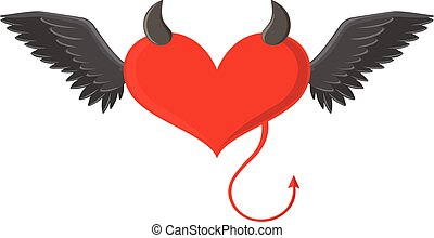 Red heart with devil horns and tail illustration