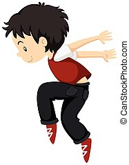 Boy doing breakdance alone illustration