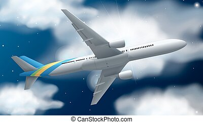 Airplane flying at night time illustration