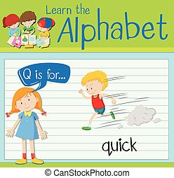 Flashcard letter Q is for quick illustration