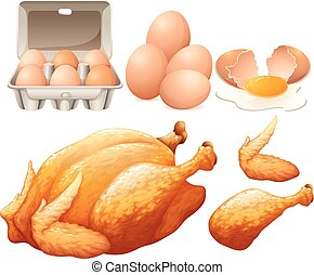 Fried chicken and fresh eggs illustration