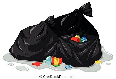Rubbish bags and dirty trash illustration
