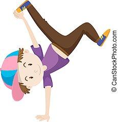 Boy doing hand flipping illustration