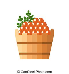 Red caviar in a wooden barrel isolated on white background. Roe icon vector illustration. Russian traditional snack. Caviare menu for restaurant.