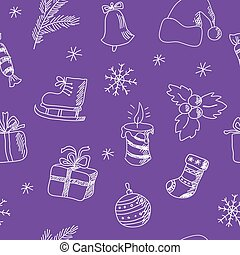 Seamless Christmas pattern on a purple background - Seamless...