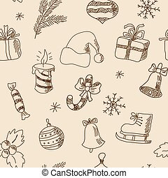 Seamless Christmas pattern with festive elements - Seamless...