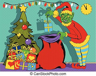 bad elf collecting gifts - Vector illustration of a bad elf...