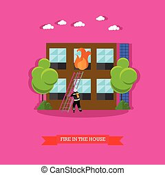 Vector illustration of fire in the house in flat style.