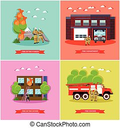 Vector set of posters with fire fighting concept design elements