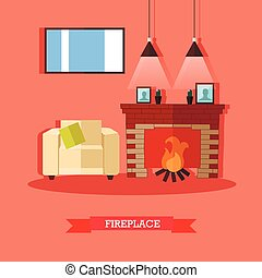 Vector illustration of fireplace, home interior design...