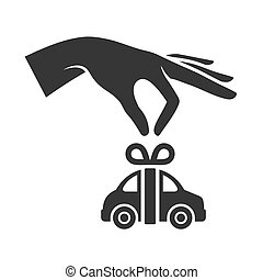 Hand with Car on White Background. Gift Icon. Vector