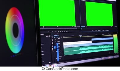 Video Editing Software Color Wheel and Green Screen. Preview...