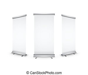 Three blank realistic roll-up banners with shadow on white -...