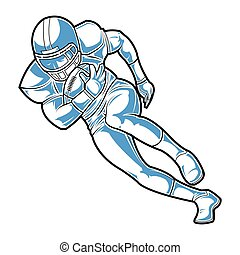 American football sign. A player running with the ball.