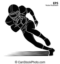 American football player, silhouette Vector illustration. -...