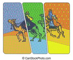 Christmas Magi Halftone - Three Christmas kings riding on...